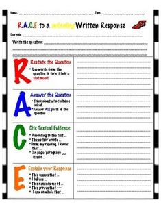 Use this template to help your students write more in-depth constructed responses. Students will use the R.E strategy to help them focus on using and explaining textual evidence to support their responses. Races Writing Strategy, Race Writing, Third Grade Writing, 6th Grade Reading, Middle School Writing, Writing Strategies, Writing Lessons, Teaching Writing, Writing Skills