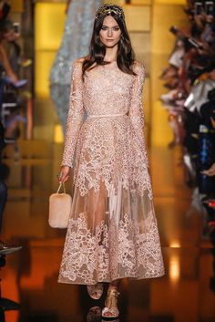 Stunning Ankle Length Dress in Pastel Pink with an Explicit Patterned Design | http://brideandbreakfast.ph/2015/07/17/elie-saab-haute-couture-fw-2015/#more-57431 | Designer: Elie Saab