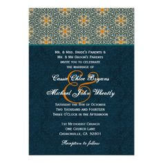 #Teal #Gold #Ornate #Pattern #Wedding  #CustomInvitation http://www.zazzle.com/teal_and_gold_ornate_pattern_wedding_h642_invitation-161704706577526632