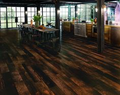 Karndean Van Gogh Charred Oak's boards carry a depth of character and authenticity which matches even the finest solid wood boards. That due – in part – to this vinyl floor being designed from genuine timber planks. The colours range from dark amber to charcoal, and the strong grain gives it that extra impact. Vinyl Flooring Bathroom, Luxury Vinyl Tile Flooring, Vinyl Tiles, Luxury Vinyl Plank, Diy Flooring, Kitchen Flooring, Flooring Ideas, Plank Flooring, Floors