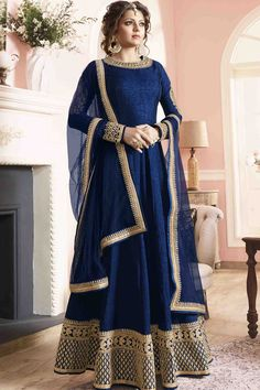 Blue Silk Semi Stitch Anarkali Suit                                                                                                                                                                                 More