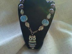 One of a kind Vintage Owl Necklace Valentines by StixxandStones, $45.00