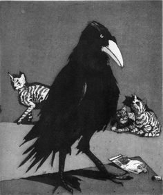 Paula Rego, crow (corvus corone), 1994. The scale of the animals and the breakup/layout of the page make this an interesting composition.