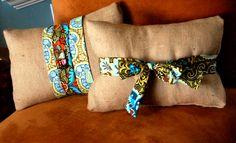 burlap pillows...with printed fabric