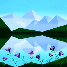 Daily Painters Abstract Gallery: Mark Webster - Abstract Geometric Mountain Lake with Purple Flowers Acrylic Painting