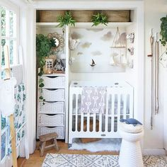 An Entire Nursery In A Closet - Tips For Stylish Small Space Nurseries - Photos