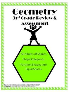 The Geometry Review and Assessment is directly aligned to all Common Core Standards for 3rd Grade Geometry.  It includes a lesson plan for the review and a 3 page assessment with answer key.  Content includes:-attributes of shapes-categories of shapes-drawing quadrilaterals-equal shares-partitioning shapes-expressing area as part of unit wholeStudents will review the content by using 2D shapes/pattern blocks in a sorting activity and by finding parts of whole with the shapes.