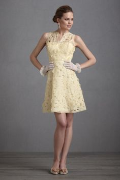 Dress from Anthropologie, in light lemon yellow