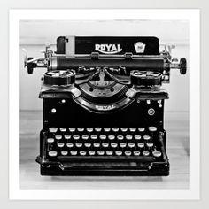 Vintage Whole Typewriter black and white fine by LegendsofDarkness, $20.00