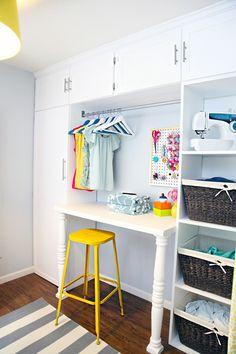 cleaning closet/folding station/clothes drying/laundry sorting unit   I Heart Organizing