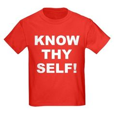 Children's dark color red t-shirt with Know Thy Self theme. The Know Thy Self phrase is a spiritual esoteric saying reminding the individual that inner truth and awareness is important to understanding our existence. Available in black, red, navy blue, royal blue, purple; kids x-small, kids small, kids medium, kids large, kids x-large size for only $23.99. Go to the link to purchase the product and to see other options – http://www.cafepress.com/stkts