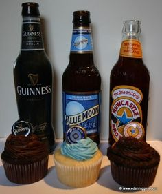 Beer Cupcakes... *~I made the Blue Moon cupcakes. I used a box of cake mix and instead of the water, I used the beer. It set up well and had good flavor. I squeezed a bit of fresh orange juice into buttercream icing for a finish. They were a hit!~*