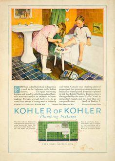 1927 Ad Vintage Bathroom Children First Aid Boy Bathtub Sink Kitchen Dishwasher