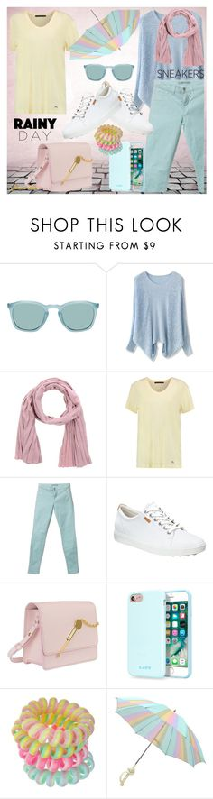 """Loving pastels"" by jj-loves-colour ❤ liked on Polyvore featuring Chicwish, Christian Dior, Marc by Marc Jacobs, J Brand, ECCO, Sophie Hulme, Laut, Miss Selfridge, rainyday and whitesneakers"