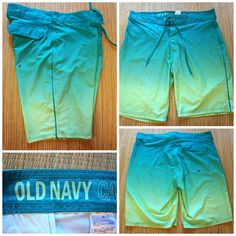 5cd5a84c51 OLD NAVY Men's Size 36 BOARD SHORTS SWIM TRUNKS w/Stretch OMBRE Teal to  Green