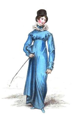 Sophia Graham in STRANGER'S EMBRACE wore a riding habit with a ruff of fine Vandyke lace like the one on this riding dress from the May, 1816 issue of La Belle Assemblée.