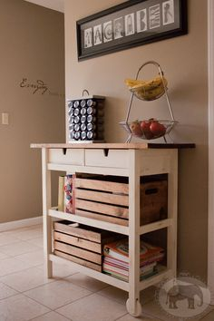 White Elephant Home: Plain Ikea Kitchen Cart Turned Tres Chic