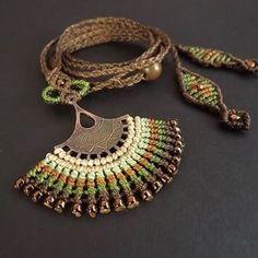 Macrame collier collier Fan Boho collier marron par neferknots