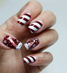 Christmas Nails. Candycanes and snowflakes <3 Red and White
