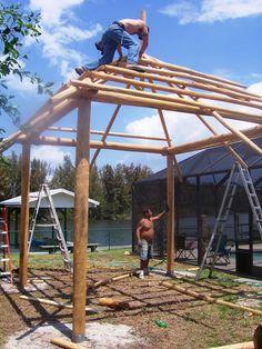 Big Kahuna Tiki Huts is in the process of building a tiki hut for one of their local neighbors in Cocoa Beach, Florida. Backyard Beach, Small Backyard Landscaping, Backyard Patio, Bamboo Garden, Garden Gazebo, Bali Huts, Bamboo House Design, Pavillion, Hut House