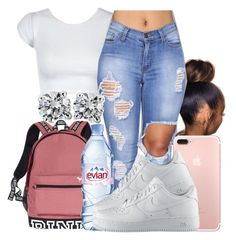 """It's been a while❤"" by honey-cocaine1972 ❤ liked on Polyvore featuring Blue Nile, Evian and NIKE"