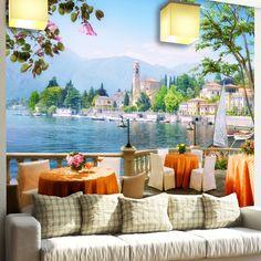 Papier Paint Vinyle: Terrasse avec vue sur un lac #papierpeint #vinyle #mur #décoration #deco #WebStickersMuraux