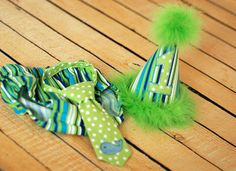 Boys Birthday Party Hat Diaper Cover and Tie  by freshsqueezedbaby, $56.00