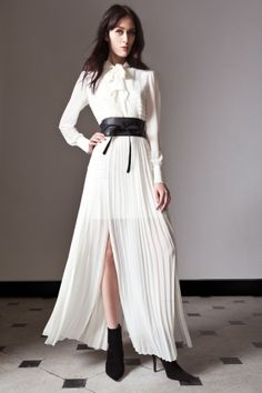 ALICE by Temperley Pre Fall 14, Long Rose Pleated Dress