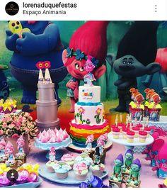 Trolls Theme Birthday Party Dessert Table and Decor
