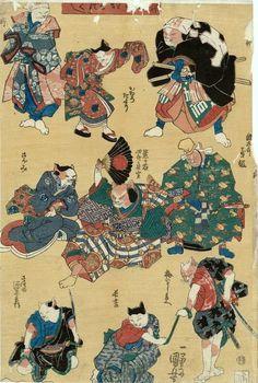 Samurai Cats by Kuniyoshi. Japanese Animals, Japanese Cat, Japan Illustration, Japanese Drawings, Japanese Prints, Asian Cat, Art Chinois, Japan Painting, Kuniyoshi