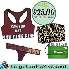 VS fan! This is a deal you do not want to miss get an awesome trio of PINK Sports Bra (reg $24.95) PINK Lace thong (reg $10.50) and VS large Accessory bag (reg $20.00) all for $25 (tax) SHIPPED to your home! That is an amazing deal since this offer retails for $55.45 (Shipping) don't miss it! Plus if you follow the easy instructions and go through Ebates (free safe online shopping) You get to choose between a $10 PayPal credit (to be sent our at a later time) or a FREE $10.00 Walmart gift…