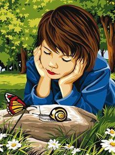 L'escargot et le papillon canevas chez Margot
