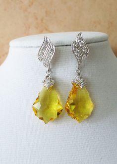 Swarovski Topaz Baroque Crystal Earrings, Cubic Zirconia Earrings, Gold Weddings, Bridal Bridesmaid Jewelry, yellow silver crystal,  by GlitzAndLove, www.glitzandlove.com