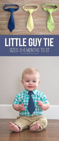 Sewing for baby - DIY gifts for babies - how to make a little boy tie - easy sewing projects Baby Sewing Projects, Sewing Projects For Beginners, Sewing Hacks, Sewing Tutorials, Sewing Crafts, Sewing Tips, Sewing Ideas, Knitting Projects, Love Sewing