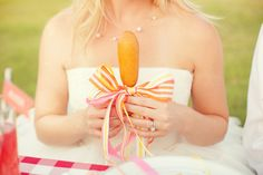 we're hoping to pass out mini corndogs towards the end of the night (our fav late-night food). Probably in personalized paper wrappers though. Late Night Food, Carnival Wedding, Corn Dogs, Candy Stripes, Southern Weddings, Reception Decorations, Grosgrain Ribbon, Wedding Inspiration, Wedding Ideas