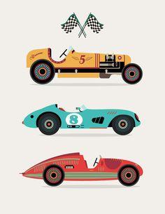 Racing Cars  Transportation Nursery Art 11x14 by giraffesnstuff