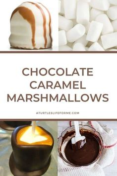 Chocolate caramel marshmallows are easy to make and a guaranteed crowd pleaser. Marshmallow pops covered in caramel, chocolate, and toppings. Marshmallow Desserts, Homemade Marshmallows, Marshmallow Pops, Delicious Chocolate, Delicious Desserts, Dessert Recipes, Turkey Cake, Caramel Bits, How To Melt Caramel