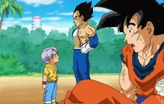 Goku and Goten with Trunks and Vegeta #FatherAndSon