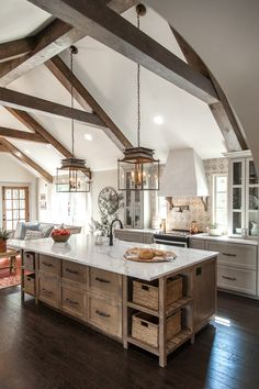 Our Family's Future Hill Country Home Inspiration: Modern Farmhouse Kitchens - HOUSE of HARPER - country kitchen Farmhouse Kitchen Island, Modern Farmhouse Kitchens, Cool Kitchens, Small Kitchens, Kitchen Islands, Farmhouse Decor, Interior Design Farmhouse, Farmhouse Ideas, Rustic Country Kitchens