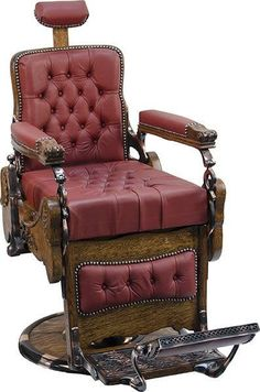 Heavily Carved Oak Koken Barber Chair