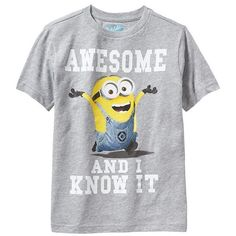 Old Navy Boys Despicable Me Minion Tees - Gray heather ($15) ❤ liked on Polyvore featuring shirts, baby boy, ignore and minions