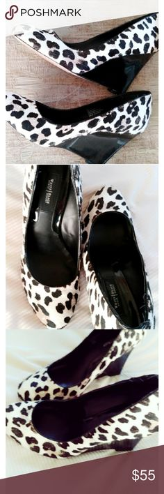 White House Black Market cowhide print wedges Absolutely adorable cowhide print leather 3 1/2 inch wedges. I'd keep them for myself if they fit. 😉 These are in excellent shape.❤ White House Black Market Shoes Wedges