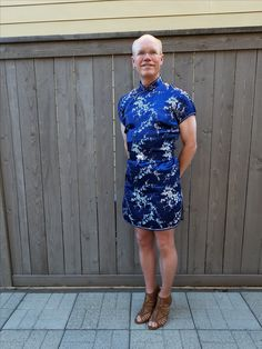I am still experimenting with dresses, so few fit and look good on me. This is my second classic Chinese dress purchased from AliExpress and tailored through the hips, shortening it, and making the belt. Blue satin Chinese dress with belt, nude nylons, brown chunk high heel sandals.