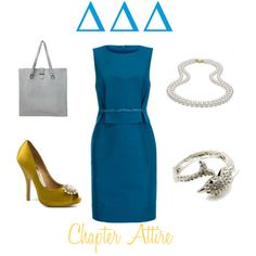 Silver, gold, blue and pearls. A perfect Delta outfit!