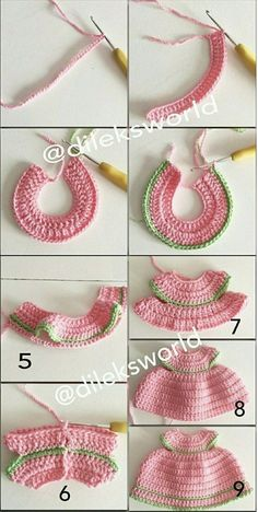 nose shaping for amigurumi crochet doll faceAmigurumi princess making amigurumitarifleri inch Kelly doll crocheted white dress with crochet miniature flowers and beaded embroidery.How to crochet a beautiful tiny dress.New patterns by Littl Crochet Vest Pattern, Crochet Fabric, Knitting Patterns, Sewing Patterns, Crochet Patterns, Pants Pattern, Knitting Designs, Crochet Doll Dress, Crochet Girls