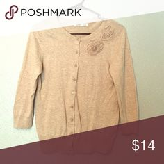 Tan Old Navy Cardigan Tan Old Navy button-up with flower detail. Good condition! Old Navy Sweaters Cardigans
