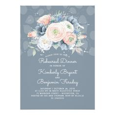 #Dusty Blue Peach and Rose Floral Rehearsal Dinner Card - rehearsal dinner invitations #rehearsal #dinner #invitations #weddinginvitations #wedding #invitations #party #card #cards #invitation #rehearsaldinner