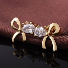 Cubic Zircon Brass Earring, Bowknot, 18K gold plated, with cubic zirconia & faceted, nickel, lead & cadmium free