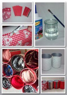 Organizador para pañuelos y bufandas hecho a mano con botes reciclados.