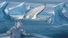 Storyboard, Whale, Illustrator, Landscape, Anime, Art, Whales, Scenery, Illustrators
